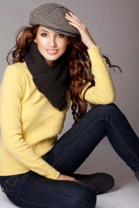 thick scarf with sweater
