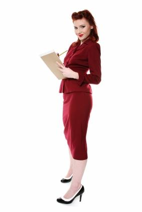 red 50s look skirt suit