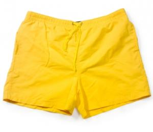 men's yellow shorter trunks