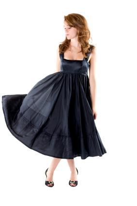 Casual Black Tea Length Dress