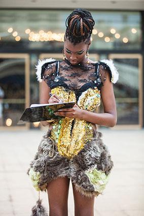 Woman wearing street style embellished dress