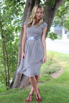Jasmine dress in chiffon slate gray