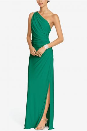 Ralph Lauren One Shoulder Brooch Gown