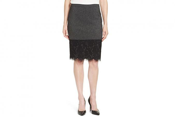 Vince Camuto Lace Hem Tweed Pencil Skirt