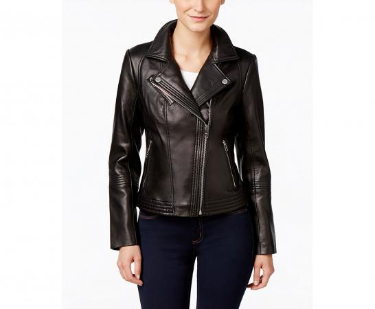 Asymmetrical Zippered Leather Jacket