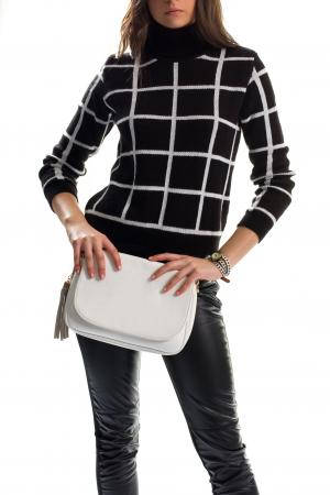 Leather pants checkered top