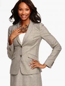 Marbled Glen Plaid Double-Button Blazer