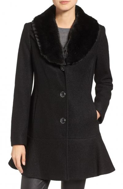 kensie Removable Faux Fur Collar Skirted Coat