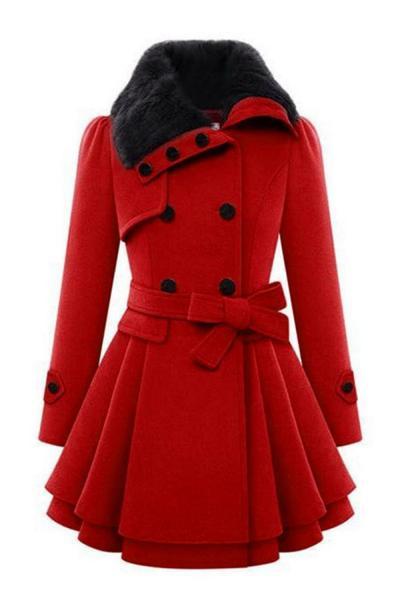 Zeagoo Faux Fur Lapel Double-breasted Wool Trench Coat