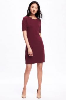 Ponte-Knit Shift Dress