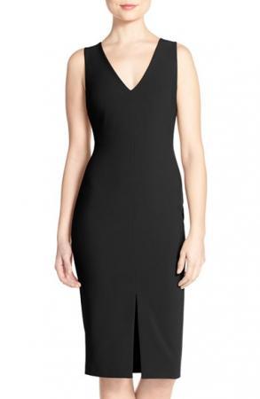 'Park' V-Neck Sheath Midi Dress