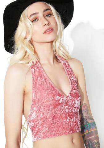Crushed Dream Velvet Halter Top