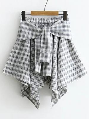 Tie Waist Grid Asymmetrical Skirt