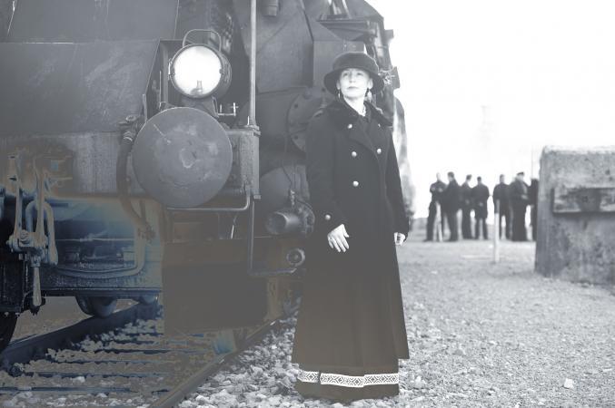 Woman at Railroad Station