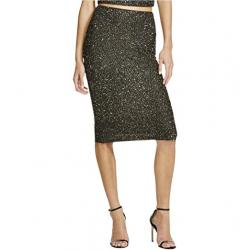 Alice + Olivia Womens Ramos Beaded Sequined Pencil Skirt