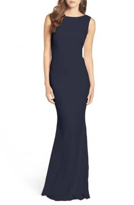 Drape Back Crepe Gown KATIE MAY