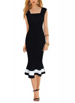 Destinas Women's Elegant Colorblock Mermaid Wear to Work Pencil Midi Dress