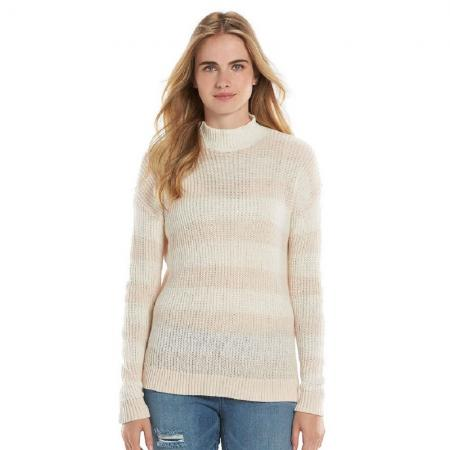 Lauren Conrad Womens Striped Mockneck Sweater