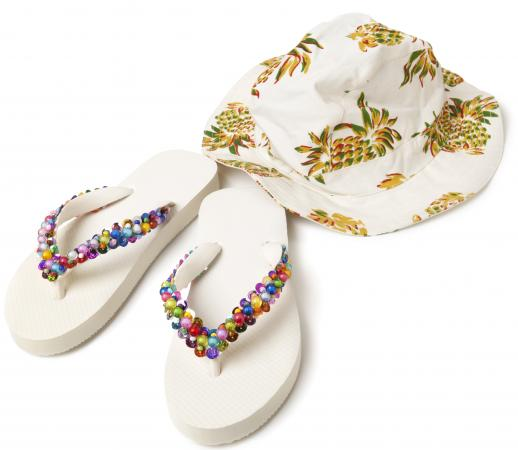 DIY decorated flipflops and floppy hat