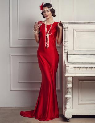 '20s woman in formal red gown