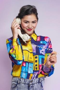 Girl wearing color-popping vintage shirt
