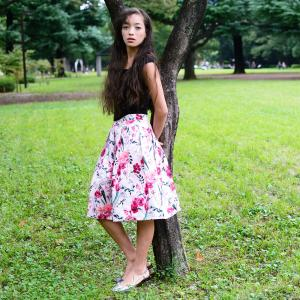 Flared hem dress in floral print