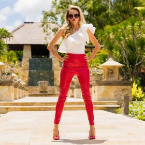 Bright red leather pants and high heels