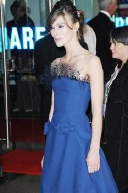 Photo of Keira Knightley in a blue strapless gown