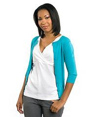 Woman in blue cardigan