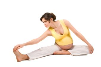 Pregnant Woman in a Seated Yoga Pose