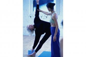 Trikasana with instructor
