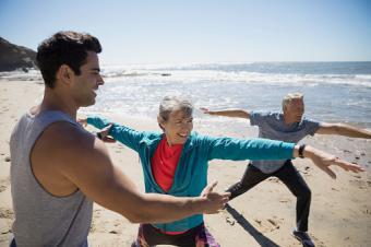 exercising on beach