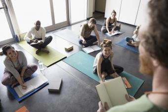 students on yoga mats