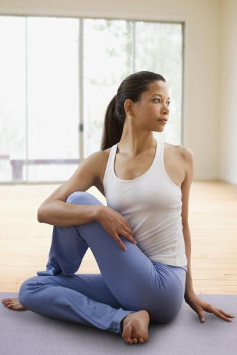 Seated twist yoga position