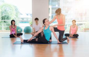 Group of women with yoga instructor