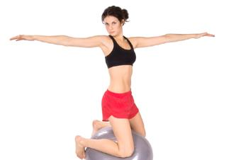 pilates ball, yoga position