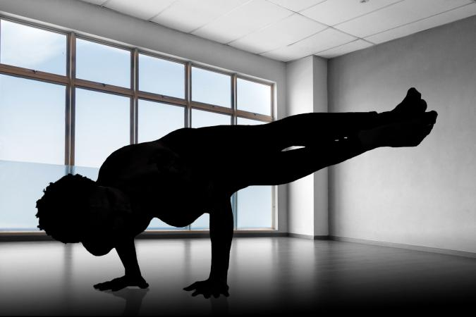 Silhouette Yoga Pose in studio