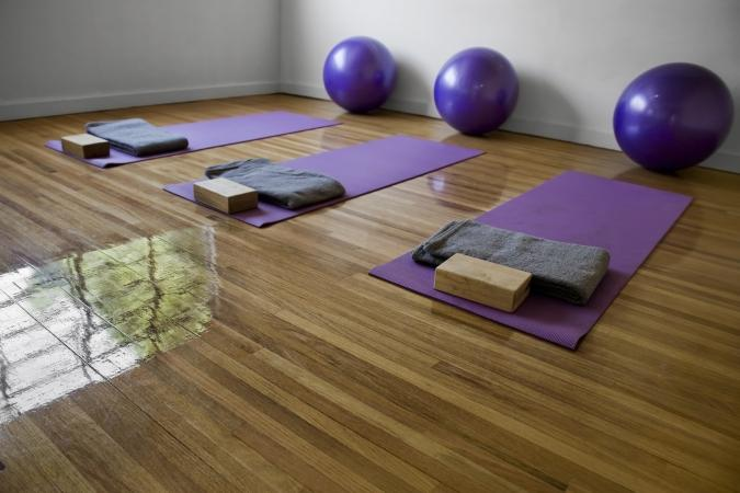 yoga studio with supplies
