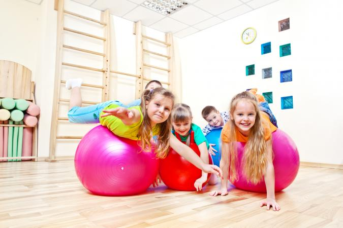 kids on yoga balls