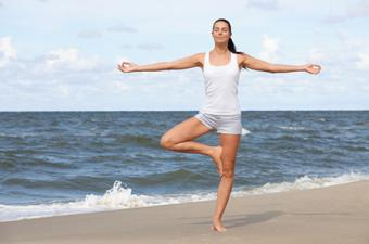 Tree Pose on the beach