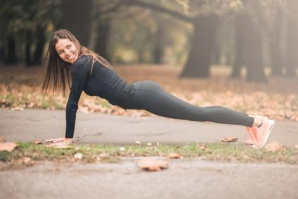 Fit girl doing yoga