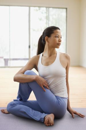 Seated twist yoga position