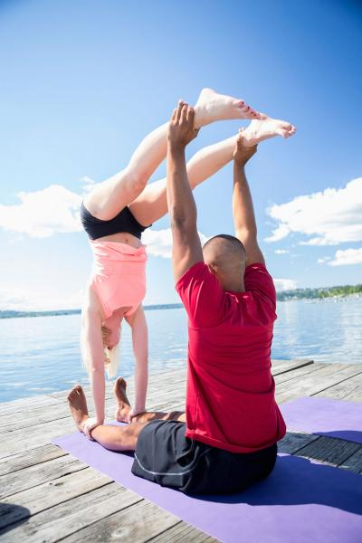 Couple in Jedi Box yoga pose